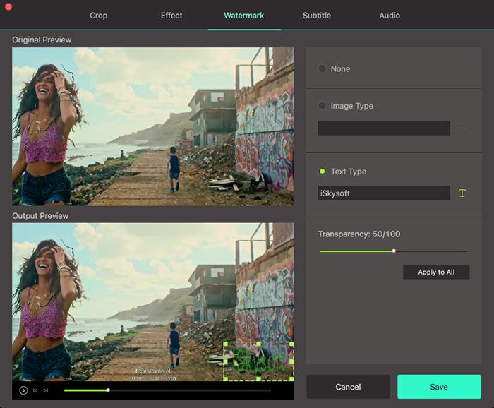 add watermarks to video using UniConverter mac